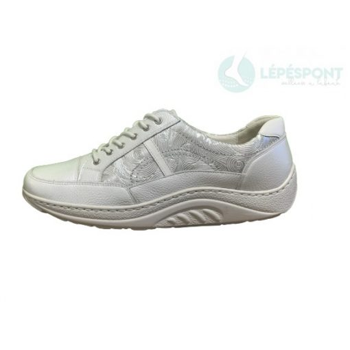 Waldlaufer dynamic gördülő talpú fűzős cipő Helli bőr mintás fehér ezüst