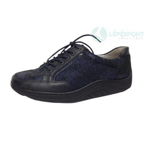 Waldlaufer dynamic gördülő talpú fűzős cipő Helli nubuk mintás kék