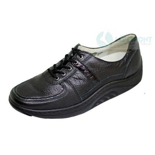 Waldlaufer dynamic fűzős cipő Helli lakkbőr mintás fekete