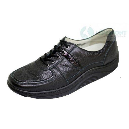 Waldlaufer dynamic gördülő talpú fűzős cipő Helli lakkbőr mintás fekete