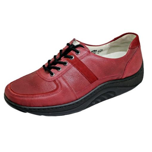 Waldlaufer dynamic gördülő talpú fűzős cipő Helli bőr mintás bordó