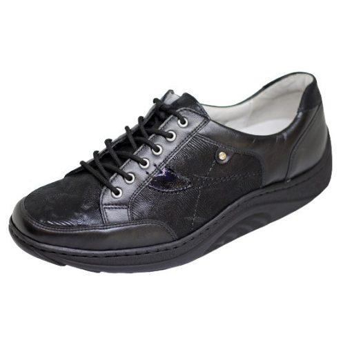 Waldlaufer dynamic gördülő talpú fűzős cipő Helli bőr nubuk mintás fekete