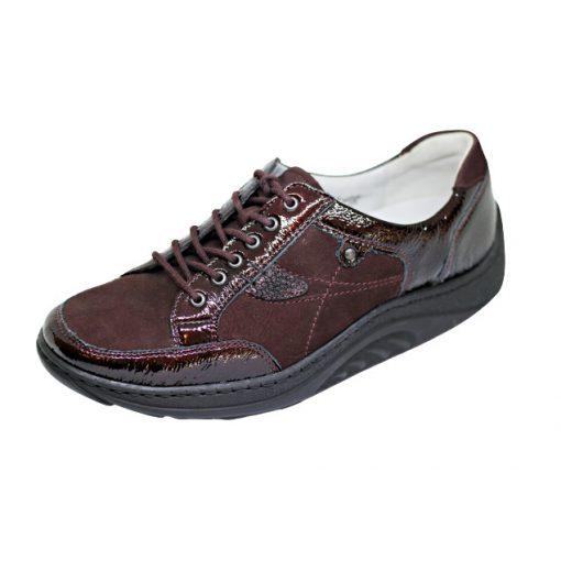 Waldlaufer dynamic gördülő talpú fűzős cipő Helli lakkbőr nubuk bordó