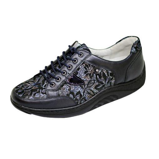 Waldlaufer dynamic gördülő talpú fűzős cipő Helli bőr-nubuk mintás sötétkék