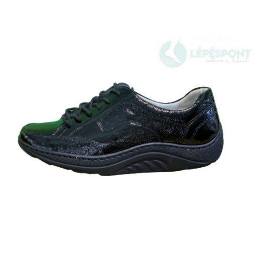 Waldlaufer dynamic gördülő talpú fűzős cipő Helli lakkbőr fekete
