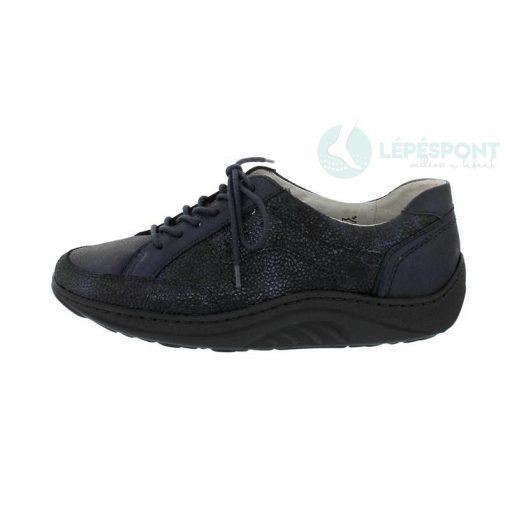 Waldlaufer dynamic gördülő talpú fűzős cipő Helli bőr mintás kék