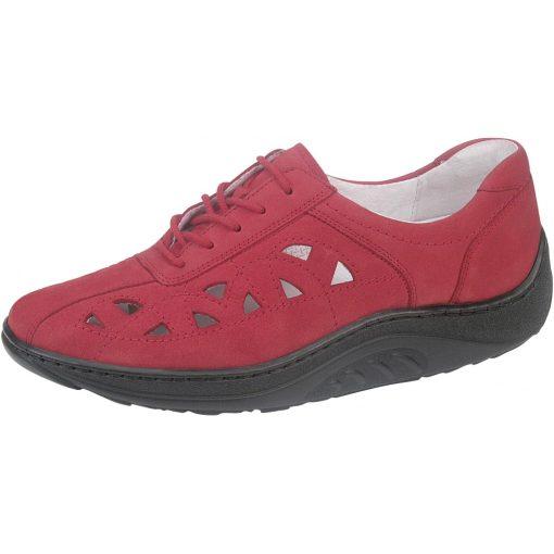 Waldlaufer dynamic gördülő talpú lyukacsos fűzős cipő Helli nubuk piros