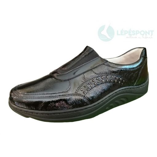 Waldlaufer dynamic gördülő talpú belebújós cipő Helli lakkbőr fekete