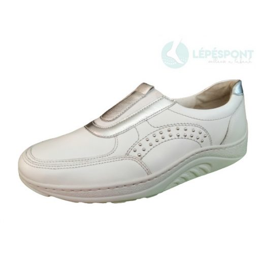Waldlaufer dynamic gördülő talpú belebújós cipő Helli bőr fehér ezüst