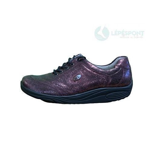 Waldlaufer dynamic gördülő talpú fűzős cipő Herina bőr mintás bordó