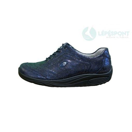 Waldlaufer dynamic gördülő talpú fűzős cipő Herina bőr mintás kék