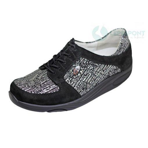 Waldlaufer dynamic gördülő talpú fűzős cipő Herina nubuk fekete szürke