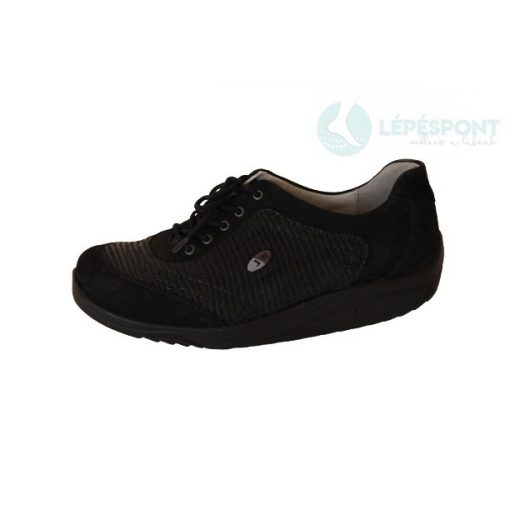 Waldlaufer dynamic gördülő talpú fűzős cipő Herina nubuk fekete