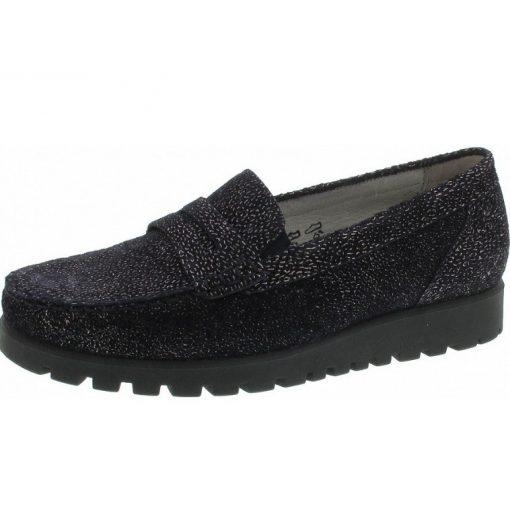 Waldlaufer kényelmi belebújós cipő Hegli bőr mintás kék