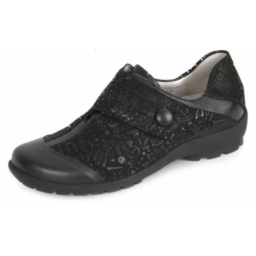 Waldläufer kényelmi tépőzáras cipő Holma nubuk mintás fekete