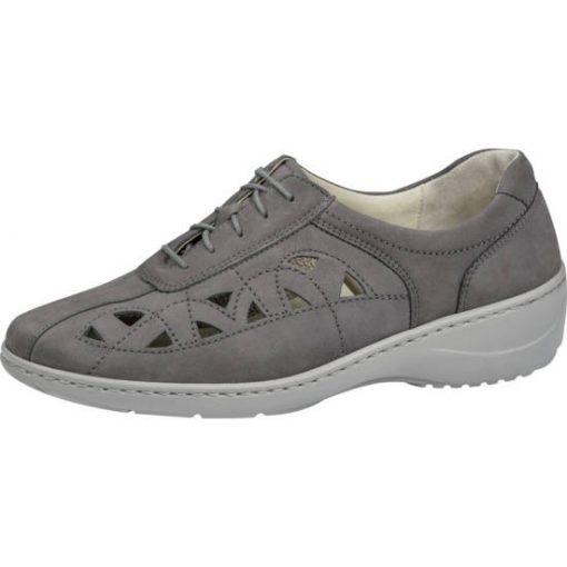 Waldlaufer kényelmi lyukacsos fűzős cipő Kya nubuk szürke