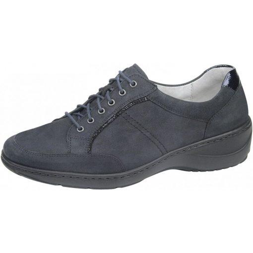 Waldlaufer kényelmi fűzős cipő Kya nubuk lakkbőr sötétkék