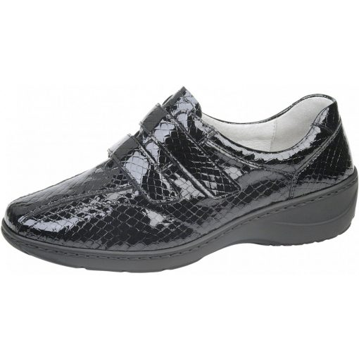 Waldlaufer kényelmi tépőzáras cipő Kya lakkbőr fekete