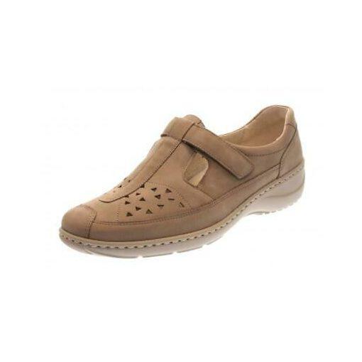 Waldlaufer kényelmi lyukacsos tépőzáras cipő Kya nubuk drapp