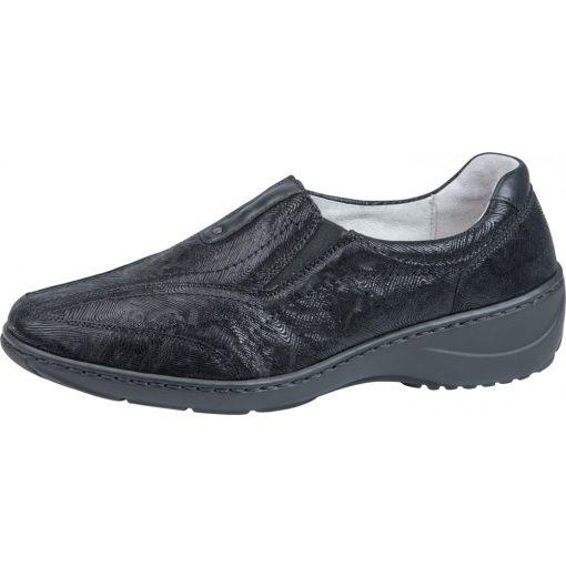 Waldlaufer kényelmi belebújós cipő Kya nubuk mintás fekete