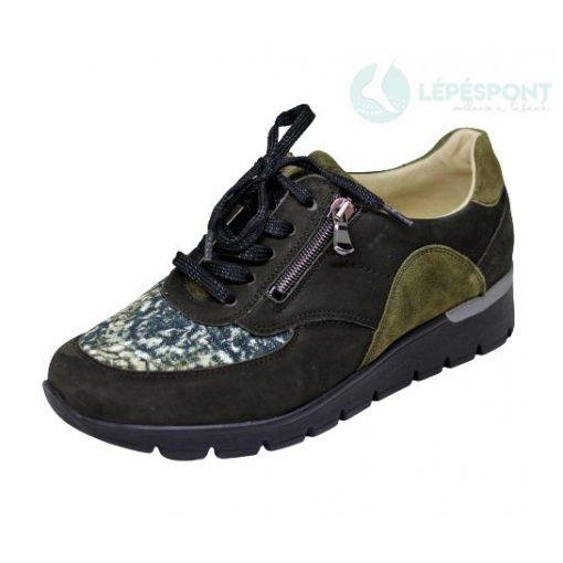 Waldlaufer Ortho Tritt fűzős cipzáras cipő K-Ramona nubuk/sztreccs mintás barna zöld
