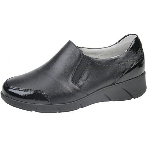 Waldlaufer kényelmi belebújós cipő Kaina bőr/lakkbőr fekete