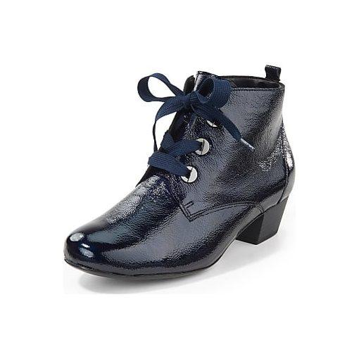 Waldlaufer kényelmi fűzős cipzáras bokacsizma Käthe lakkbőr kék