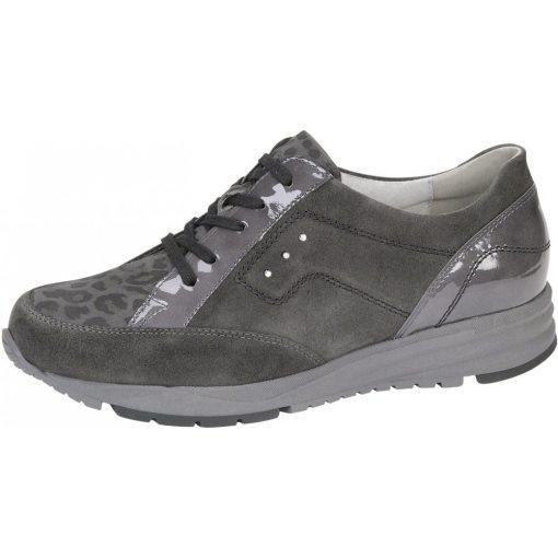 Waldlaufer kényelmi fűzős cipő Kimari velúr/lakkbőr mintás szürke