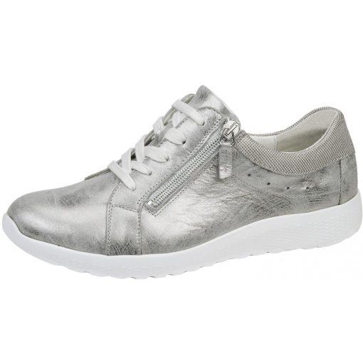 Waldlaufer kényelmi fűzős cipzáras cipő K-Iris bőr fényes ezüst szürke