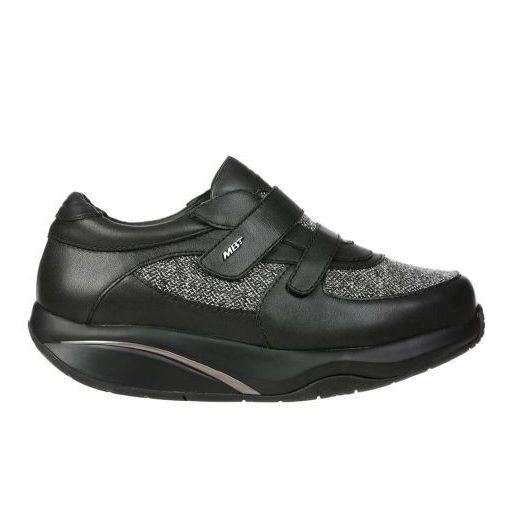 MBT tépőzáras cipő Patia bőr/textil fekete szürke