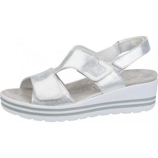Waldlaufer kényelmi tépőzáras szandál H-Michelle bőr fényes ezüst fehér