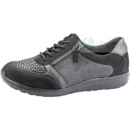 Waldlaufer Ortho Tritt fűzős cipzáras cipő M-Iris nubuk/sztreccs fekete