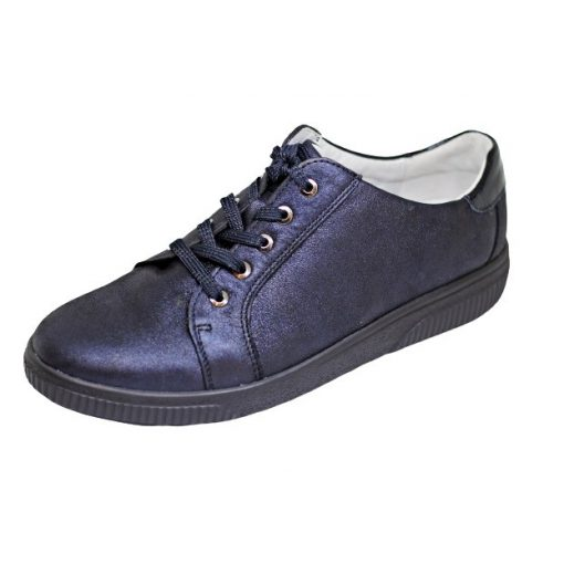 Waldlaufer kényelmi fűzős cipő H-Steffi bőr nubuk/lakkbőr kék