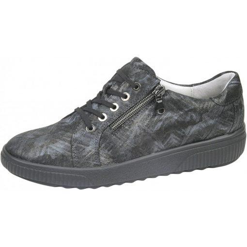 Waldlaufer kényelmi fűzős cipzáras cipő H-Steffi bőr mintás szürke