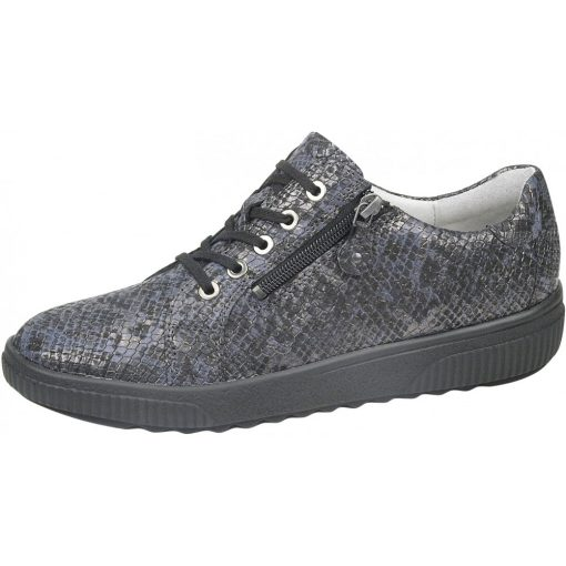 Waldlaufer kényelmi fűzős cipzáras cipő H-Steffi kígyóbőr kék szürke