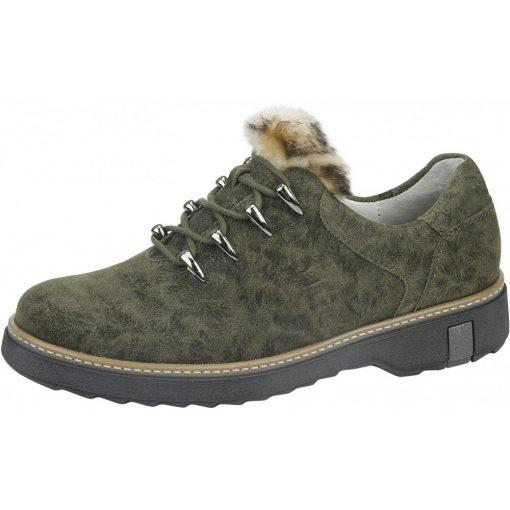 Waldlaufer kényelmi fűzős cipő Hitomi velúrbőr zöld