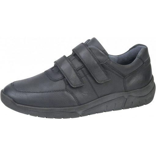 Waldlaufer kényelmi tépőzáras cipő Hanson bőr fekete