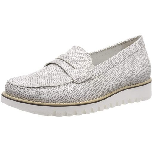 Waldlaufer kényelmi belebújós női cipő Habea bőr fehér ezüst