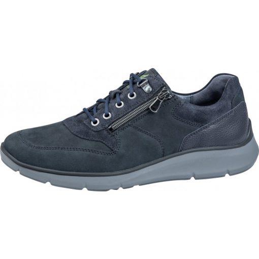 Waldlaufer kényelmi fűzős cipzáras cipő Haris nubuk kék