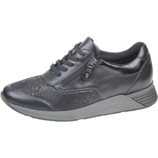 Waldlaufer Ortho Tritt fűzős cipzáras cipő Halice bőr/sztreccs/velúr/lakkbőr fekete