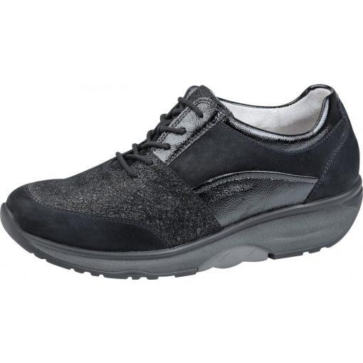 Waldlaufer dynamic gördülő talpú fűzős cipő H-Sonja nubuk lakkbőr fekete