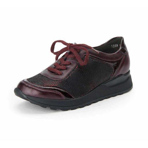 Waldlaufer Ortho Tritt fűzős cipő Hiroko-Soft bőr/lakkbőr/sztreccs mintás bordó