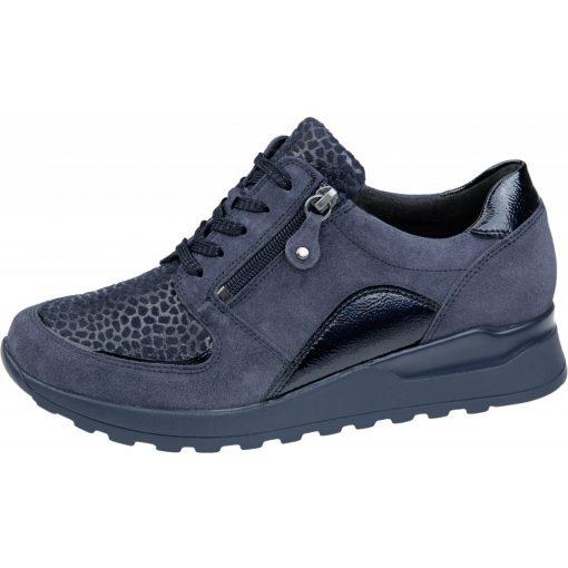 Waldlaufer Ortho Tritt fűzős cipzáras cipő Hiroko-Soft velúr/sztreccs/lakkbőr mintás sötétkék