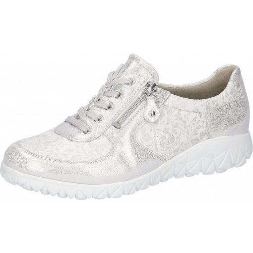 Waldlaufer kényelmi fűzős cipzáras cipő Havy-Soft bőr/sztreccs fényes ezüst fehér