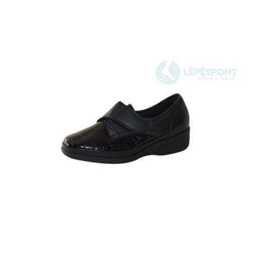 Waldlaufer Ortho Tritt tépőzáras cipő Bea-Soft bőr sztreccs fekete